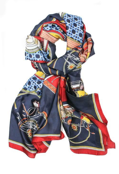 Pamela Scott printed scarf in navy