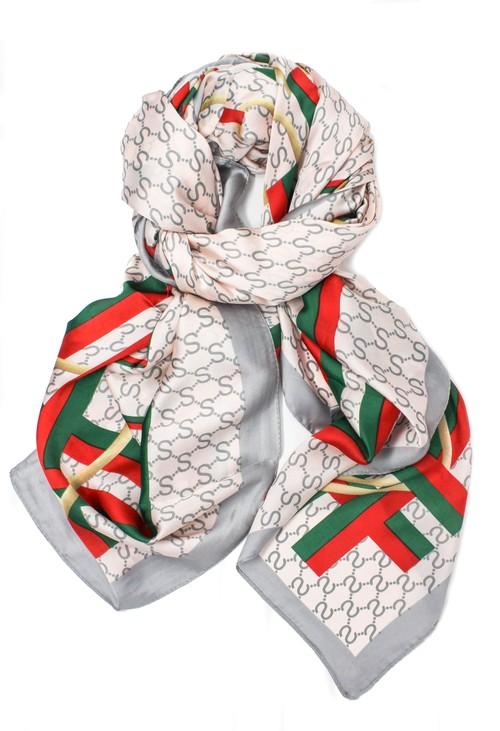Pamela Scott stripe and chain print scarf in grey