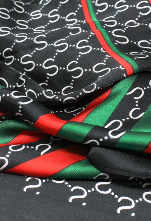 Pamela Scott stripe and chain print scarf in black