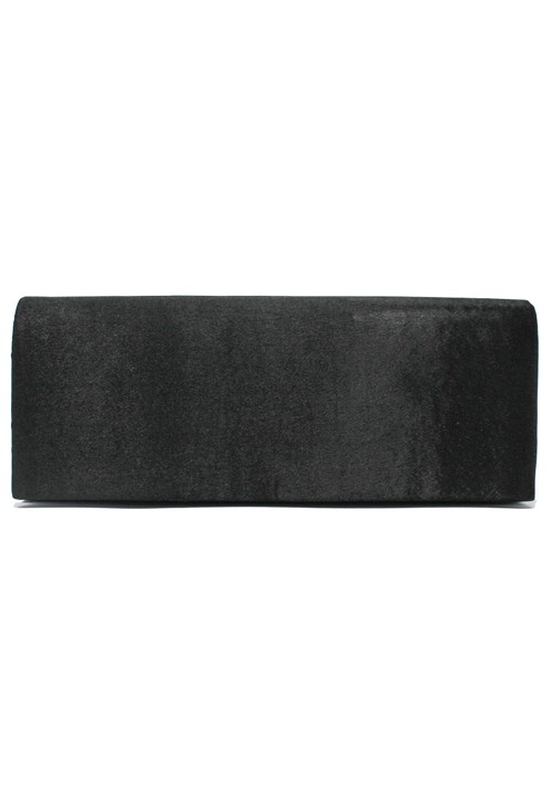 Pamela Scott SATIN CLUTCH BAG IN BLACK.