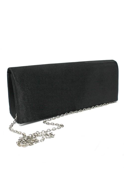 Pamela Scott SATIN CLUTCH BAG IN BLACK.