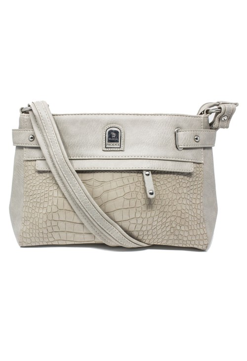 Pamela Scott HANDBAG IN LIGHT SAND WITH A CROC PRINT DESIGN FRONT.