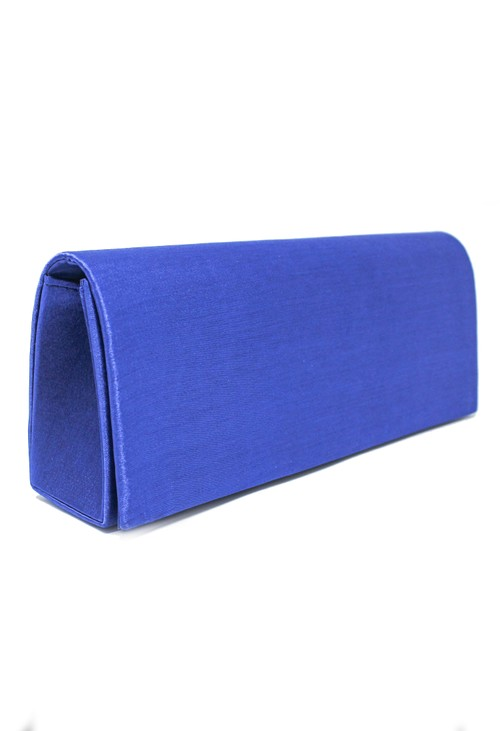 PS Accessories SATIN CLUTCH BAG IN SAPPHIRE BLUE