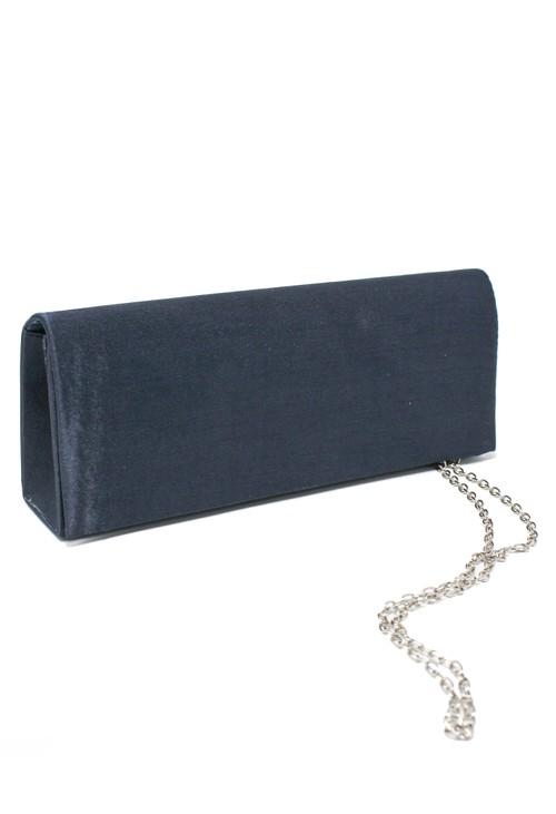 PS Accessories SATIN CLUTCH BAG IN NAVY