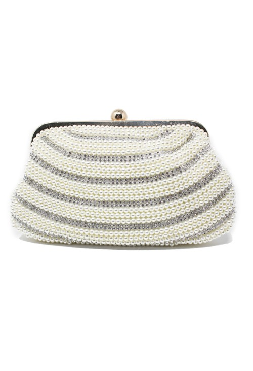 Pamela Scott PEARL AND DIAMANTE DETAIL CLUTCH BAG