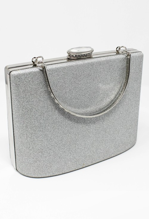 Pamela Scott SILVER SPARKLE CLUTCH BAG
