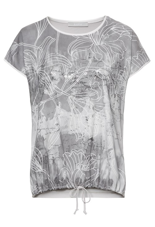 Bianca Printed front top in silver grey