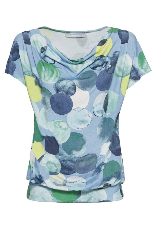 Bianca Circle print top with cowl neck in blue