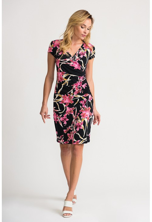 Joseph Ribkoff Black dress with floral print design