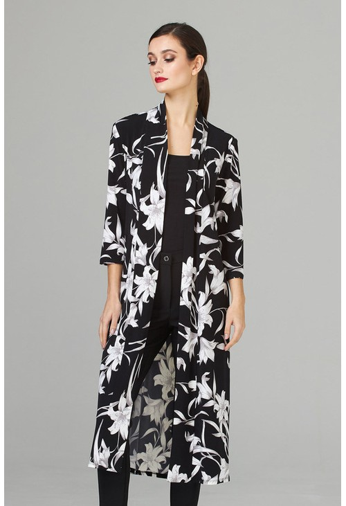 Joseph Ribkoff Long cardigan in black with white floral print