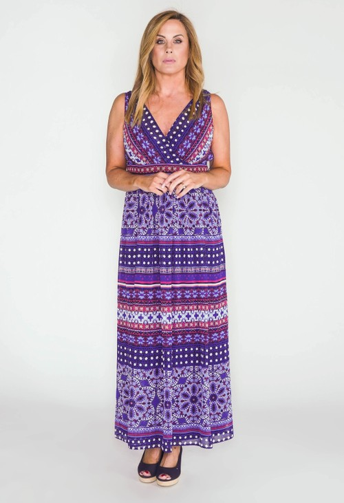 London Times Sleeveless Double Layer Maxi Dress