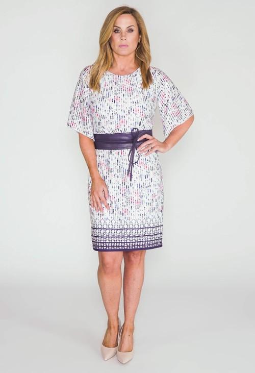 Zapara White Stripe Self Design Belt Detail Dress
