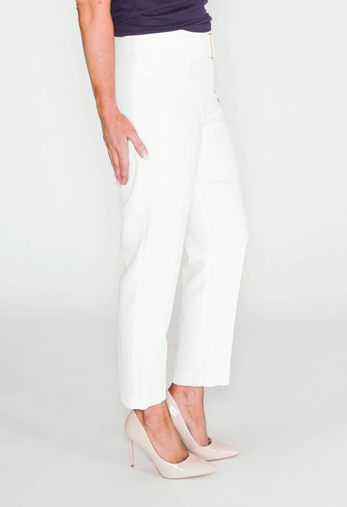 Zapara Off White Buckle Detail Trousers