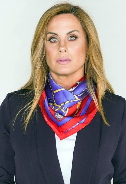 Pamela Scott chain print square neck scarf in red and blue