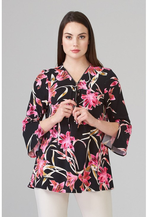 Joseph Ribkoff Black top with pink floral print
