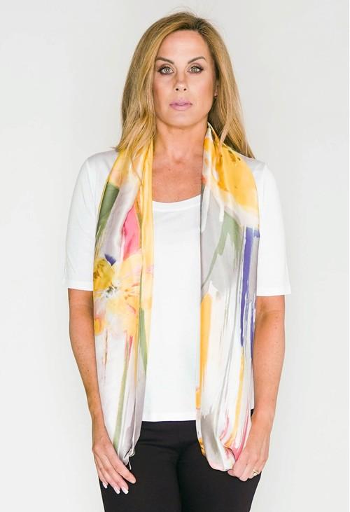 Pamela Scott Abstract Flower Print Scarf in Lemon