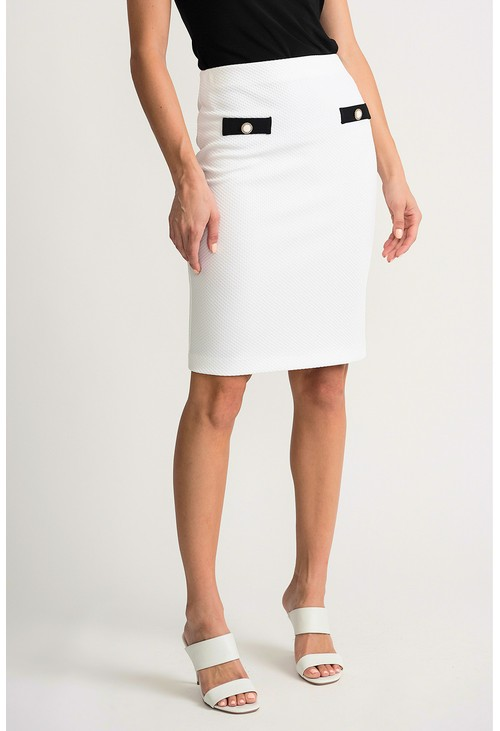 Joseph Ribkoff Pencil skirt in vanilla with button detail front