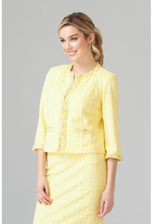 Joseph Ribkoff Tweed jacket in lemon and white, with pearl detail front