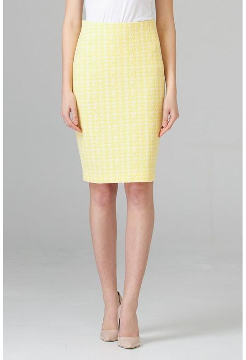 Joseph Ribkoff Tweed pencil skirt in lemon and white