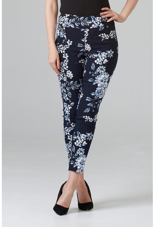 Joseph Ribkoff Flower printed trousers in navy