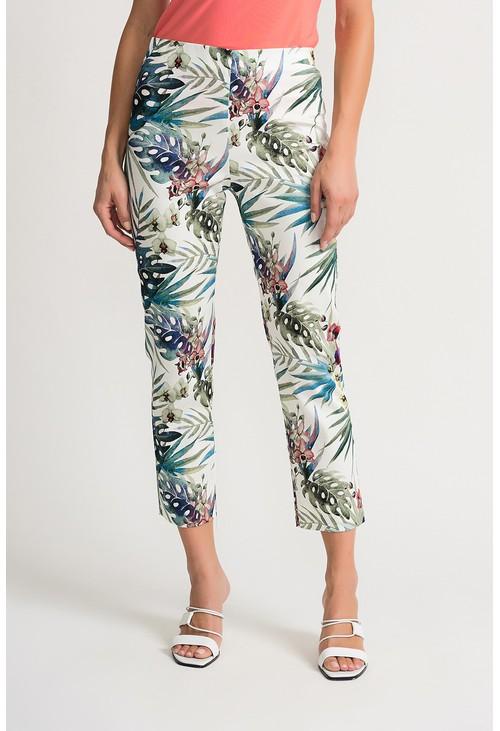 Joseph Ribkoff Tropical printed trousers in white