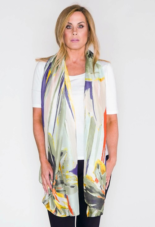 PS Accessories Abstract Flower Print Scarf In Green