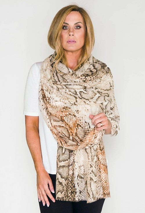 Pamela Scott snake print scarf with foil detail in beige