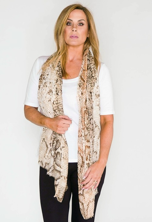 PS Accessories snake print scarf with foil detail in beige