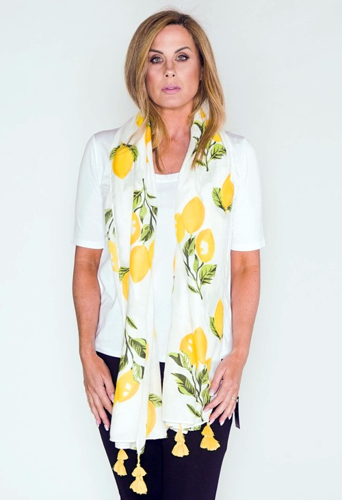 PS Accessories Scarf in White with Lemon Print
