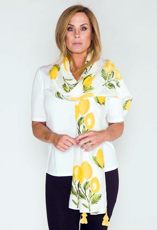 Pamela Scott Scarf in White with Lemon Print