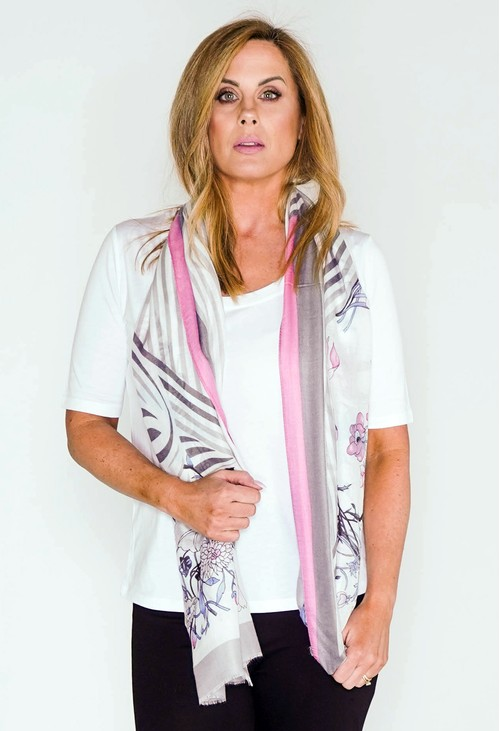 Pamela Scott flower and stripes print scarf