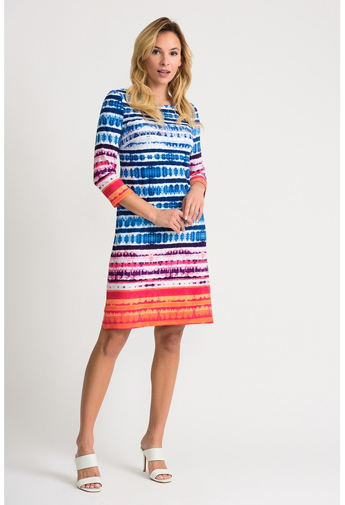 Joseph Ribkoff Coloured abstract printed dress in blue