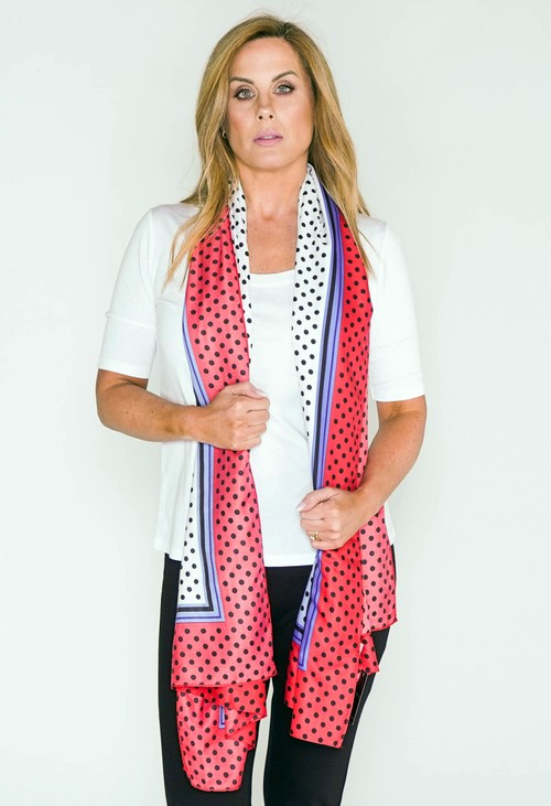 Pamela Scott Red and Blue Polkadot Print Scarf