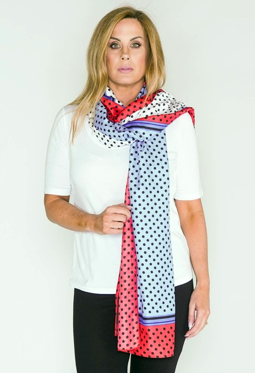 PS Accessories Red and Blue Polkadot Print Scarf
