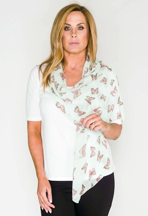 Pamela Scott Butterfly print crinkle scarf in mint and pink