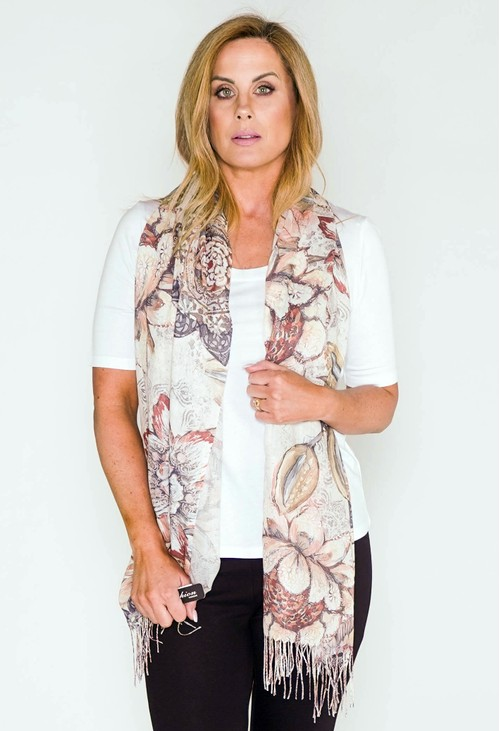 Pamela Scott Flower Print Scarf In Sand And Khaki