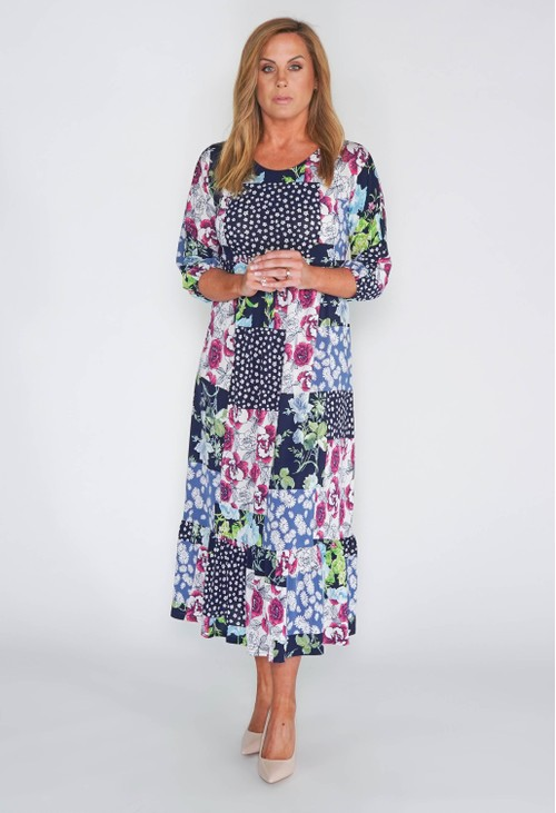Zapara Patchwork Design Midi Dress