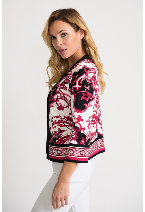Joseph Ribkoff Paisley printed inspired jacket in vanilla and pink