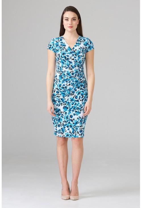 Joseph Ribkoff Short sleeve wrap dress in blue watercolor print