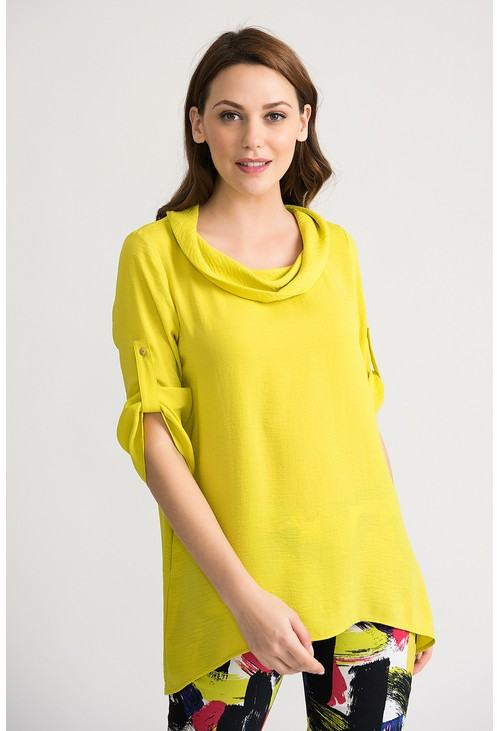Joseph Ribkoff Cowl neck tunic in lemon
