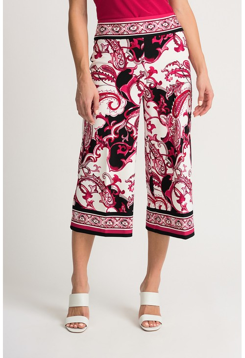 Joseph Ribkoff Paisley print cropped trousers in vanilla and fuchsia