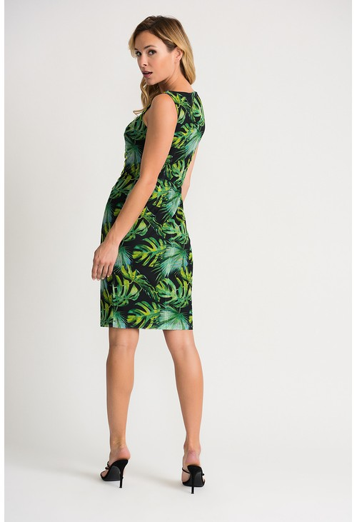 Joseph Ribkoff Black faux wrap dress in a green leaf printed design