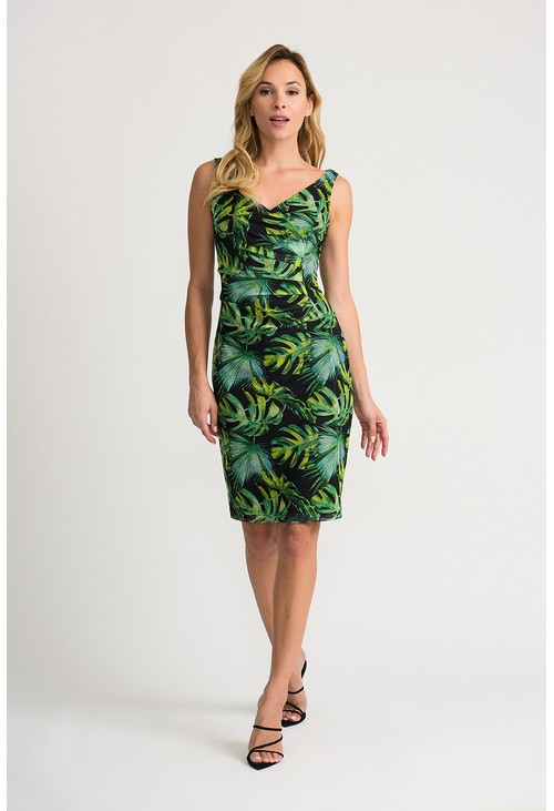 Joseph Ribkoff Black faux wrap dress in a green leaf printed design