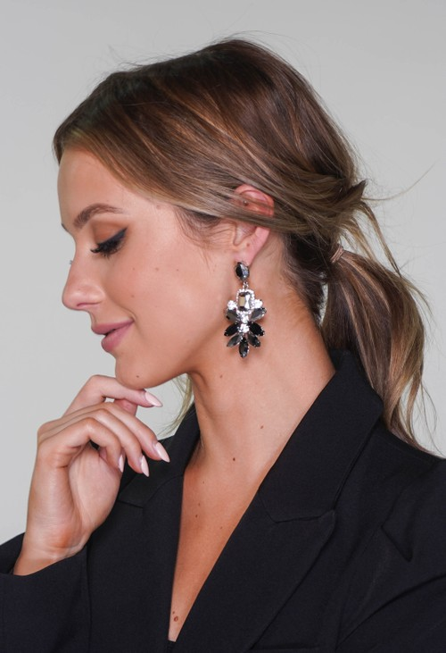Pamela Scott Diamante earrings in black and pewter