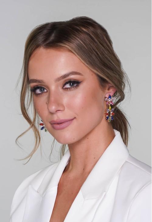 Pamela Scott multicoloured diamante earrings