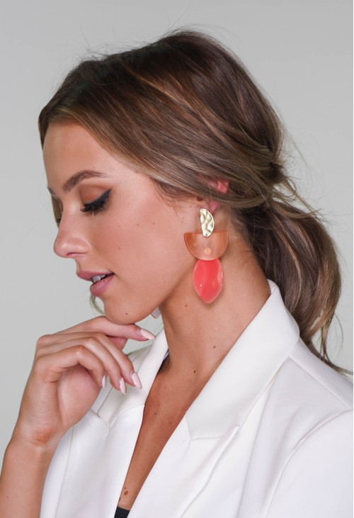 Pamela Scott earrings in gold and coral