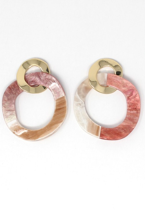 PS Accessories Two tone earrings in pink