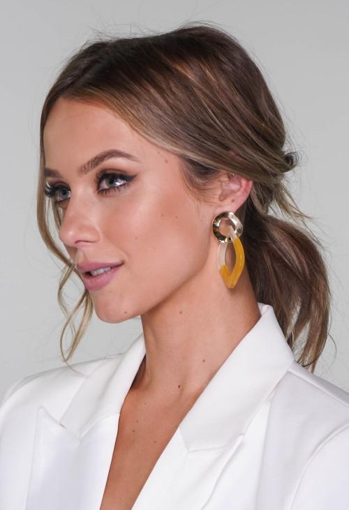 PS Accessories two tone earrings in lemon
