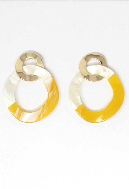 Pamela Scott two tone earrings in lemon