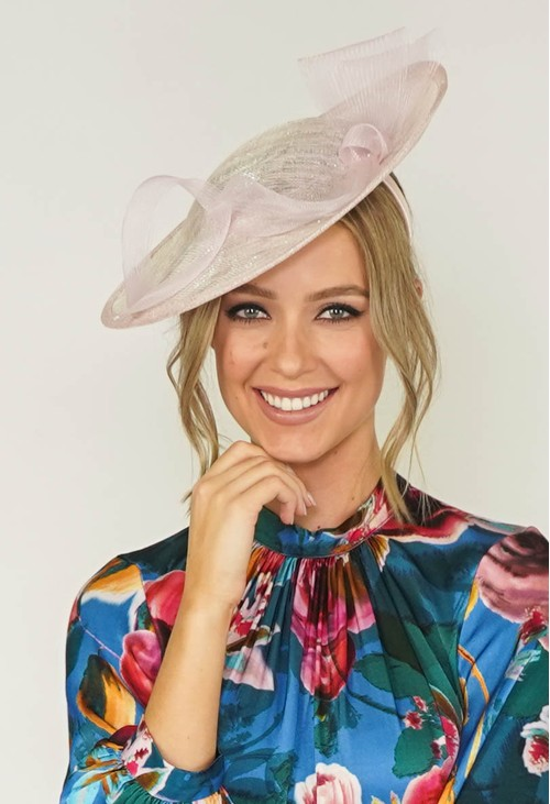 Maddox Metallic Blush Disc Shape Fascinator